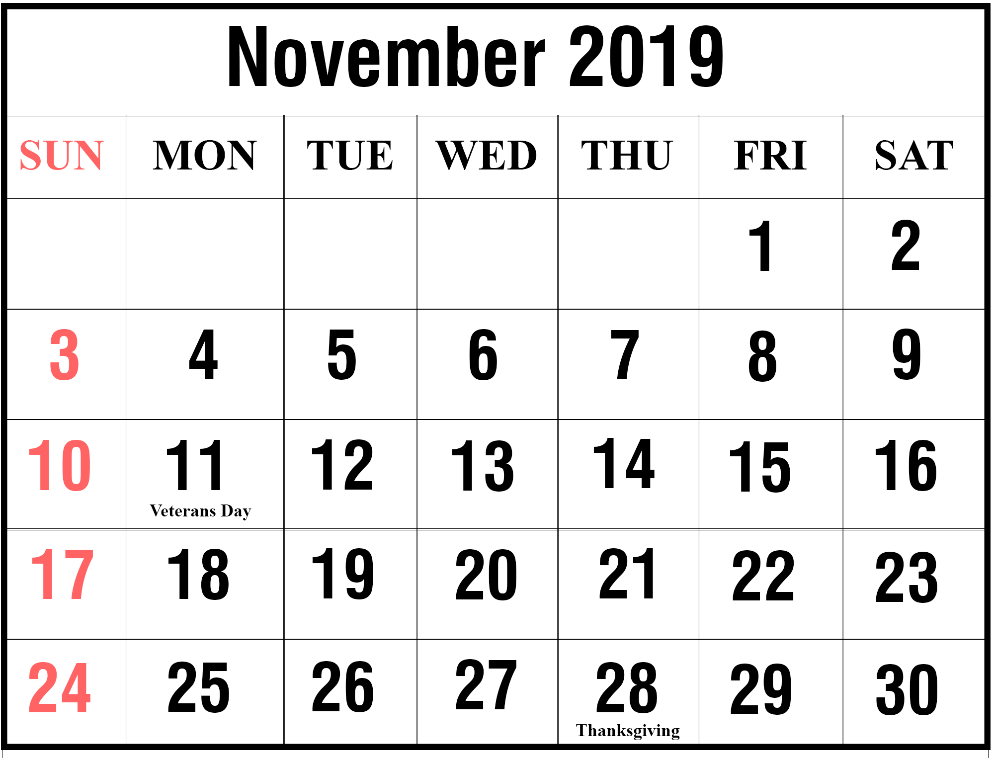 Calendar For November 2019