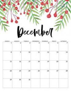 Cute December 2019 Floral Wall Calendar