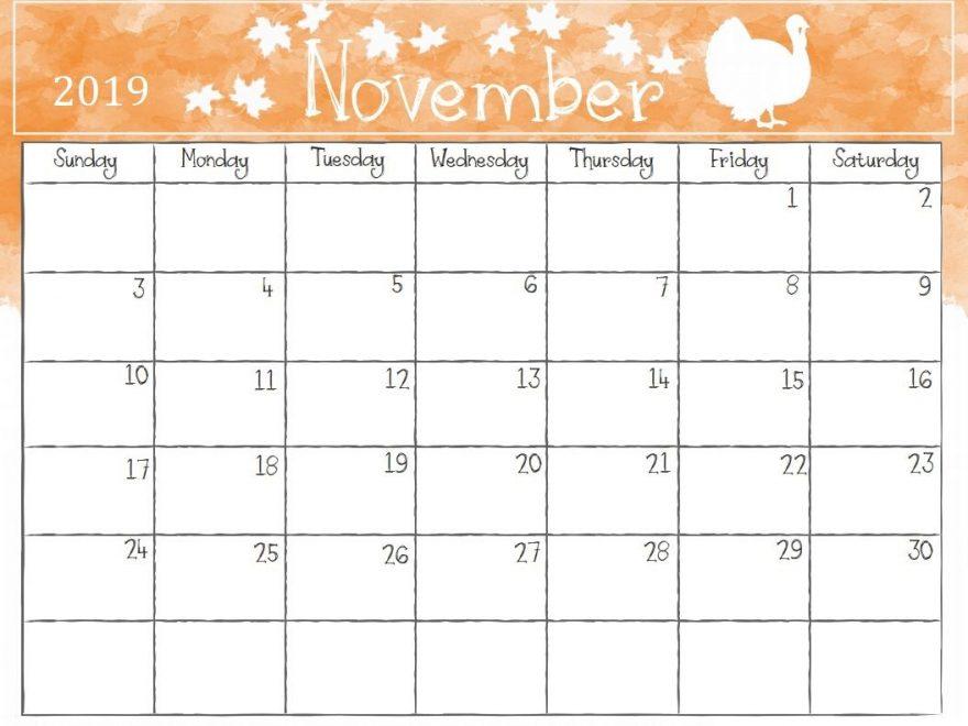 Cute November 2019 Calendar Template