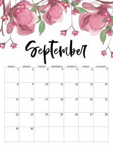 Cute September 2019 Floral Calendar Design