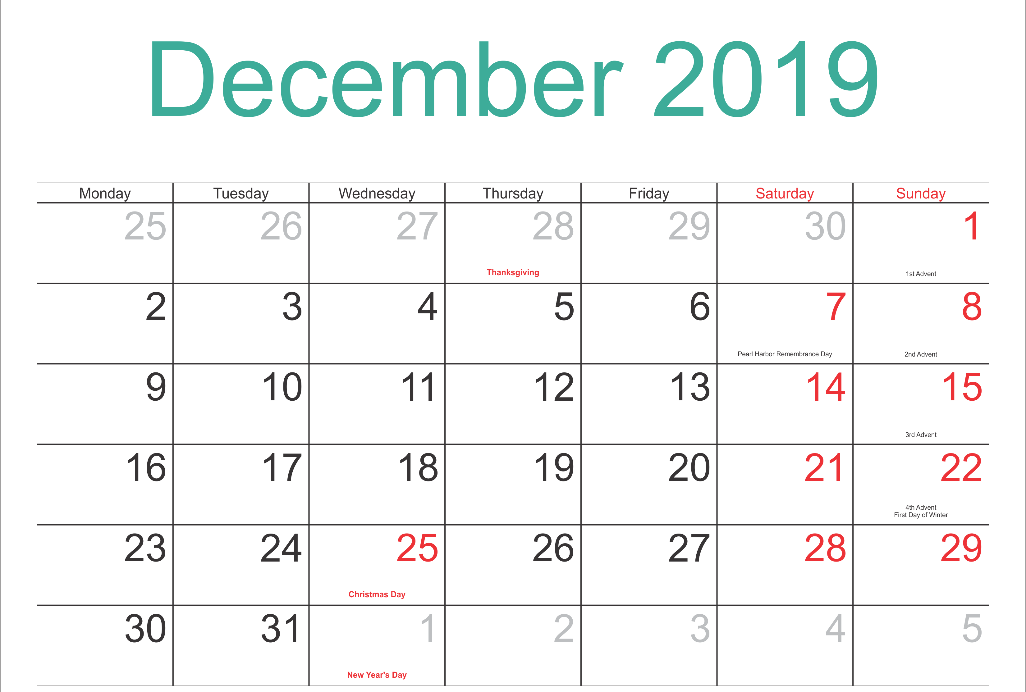 December 2019 Holidays Calendar Template