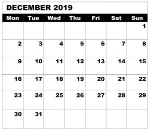 Decorative December 2019 Calendar Word