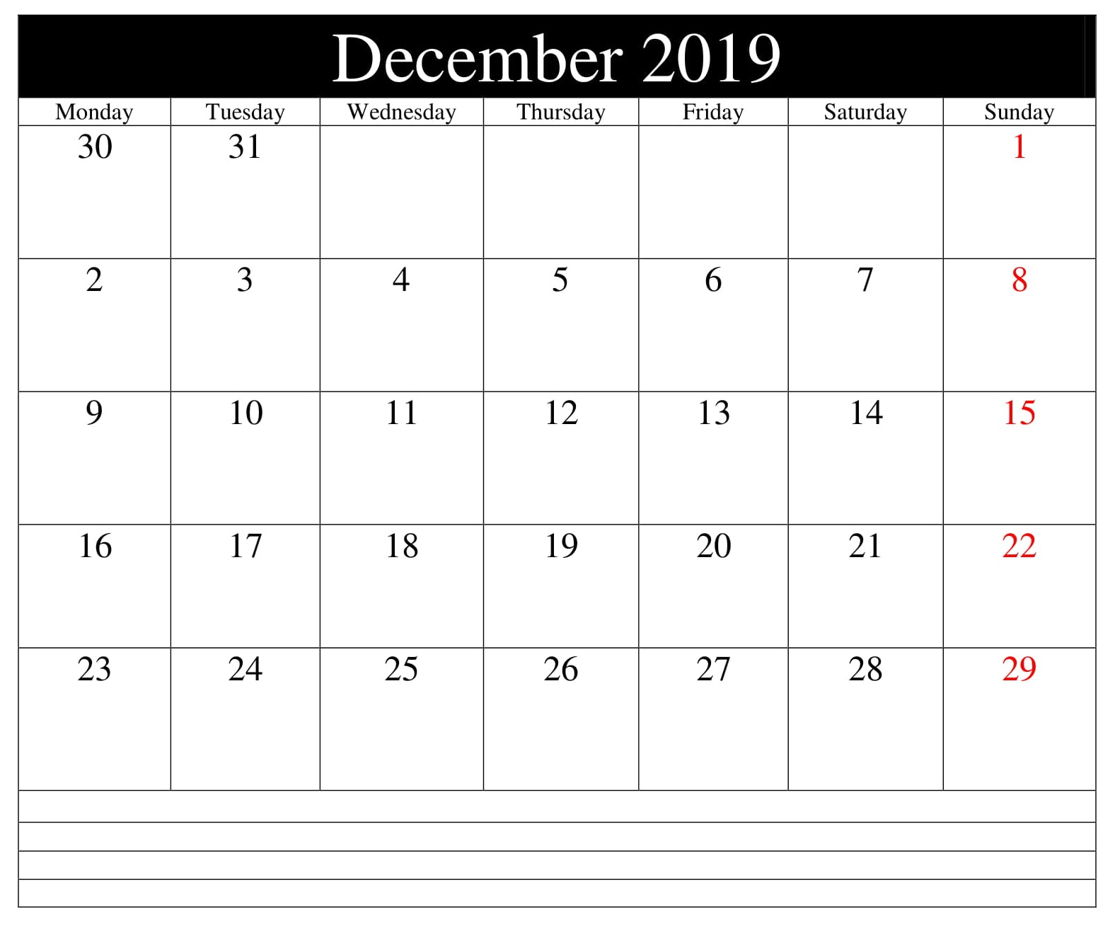 Editable December 2019 Calendar with Notes