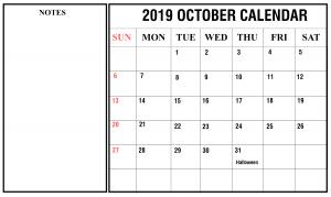 Editable October 2019 Calendar with Notes