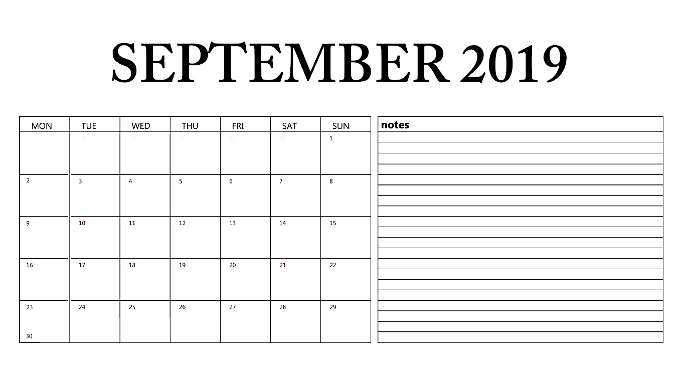 Editable September Calendar 2019 with Notes