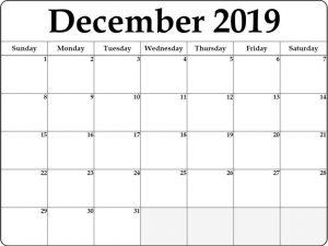 Free December 2019 Monthly Calendar