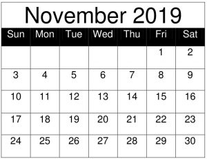 Free Printable November 2019 Calendar Landscape