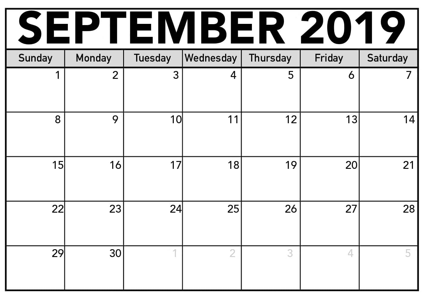 Free Printable September 2019 Calendar
