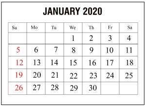 January 2020 Printable Calendar Template