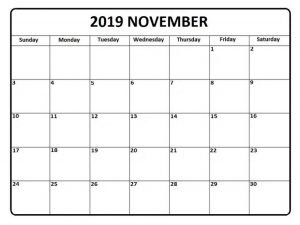 November 2019 Calendar Monthly Template