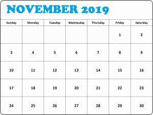 November 2019 Calendar Printable Decorative