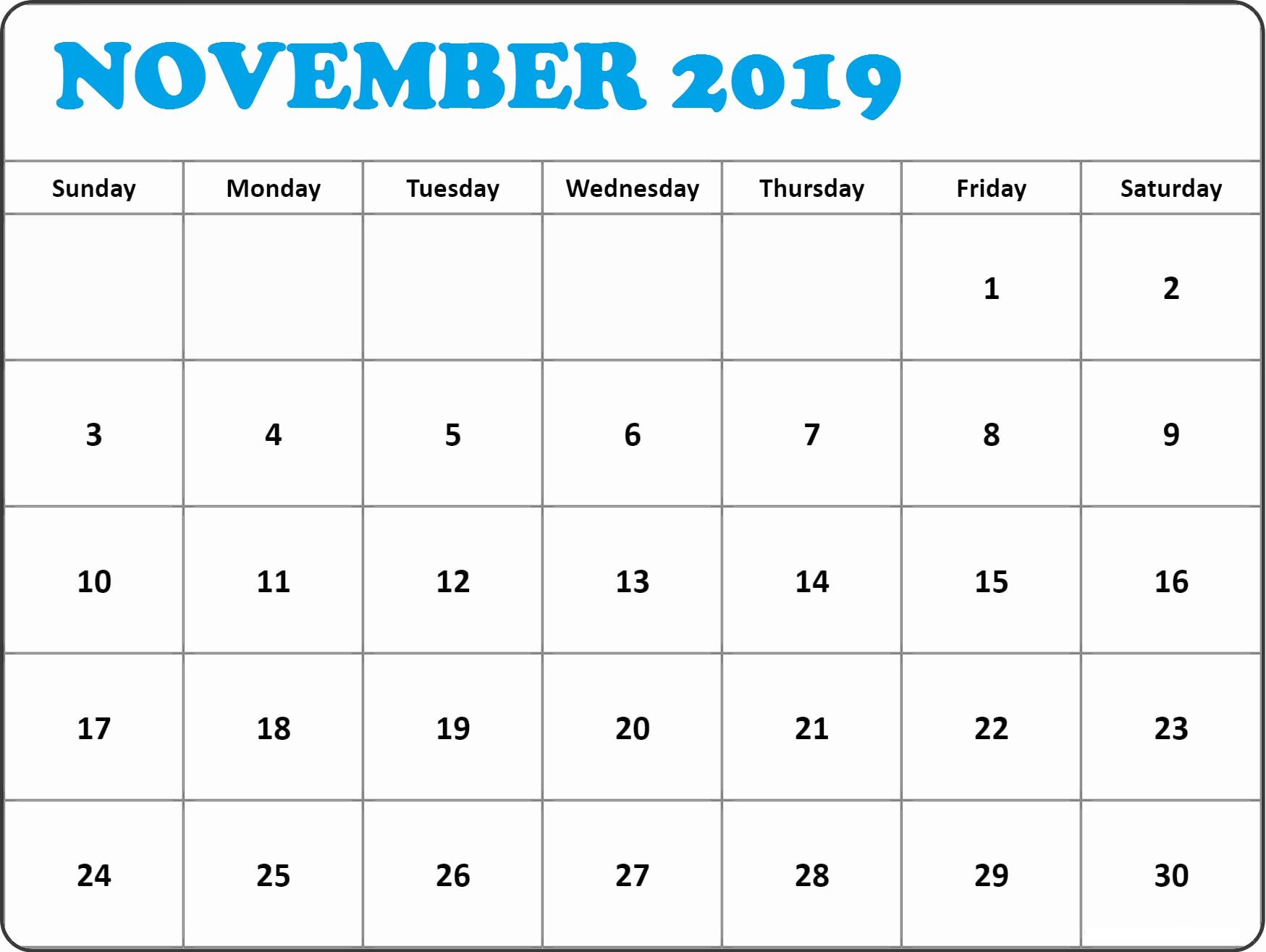 November 2019 Calendar Printable Decorative