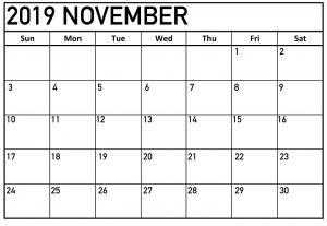 November Calendar 2019 Page
