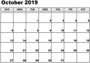Printable October 2019 Calendar October 2019 Calendar