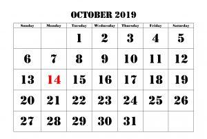 October 2019 Calendar PDF, Word, Excel