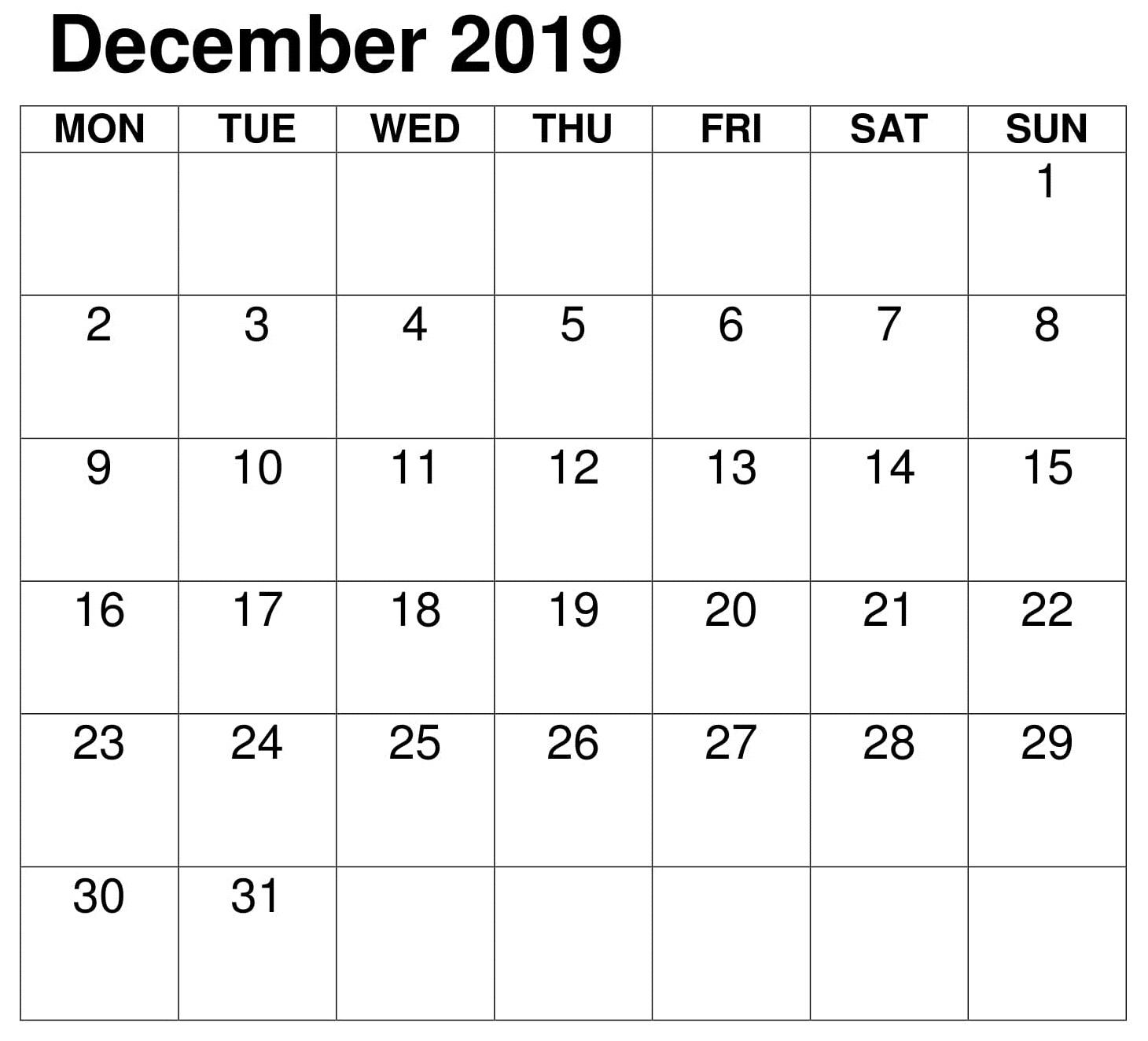 PDF Calendar Template December 2019