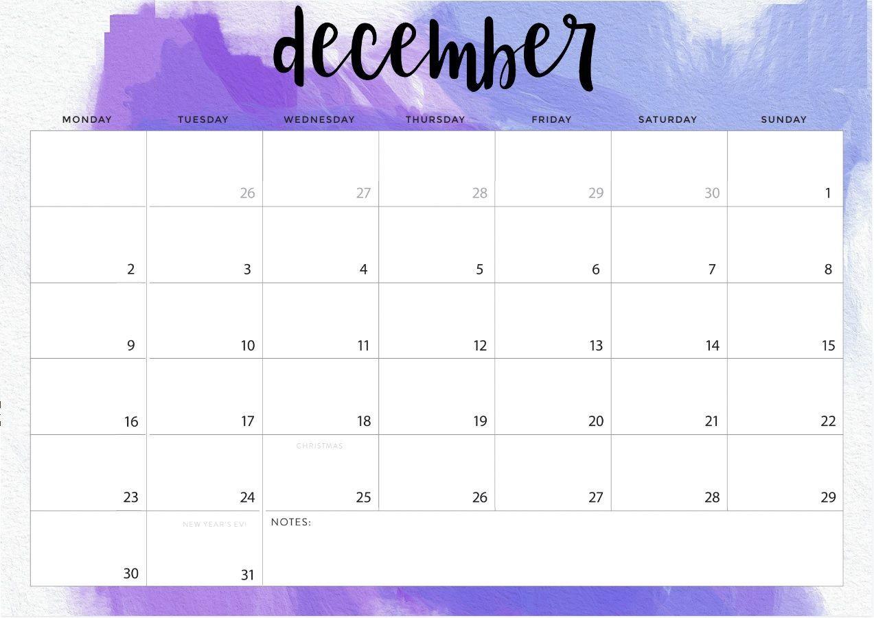 Print December 2019 Desk Calendar
