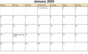 Print January 2020 Holidays Calendar