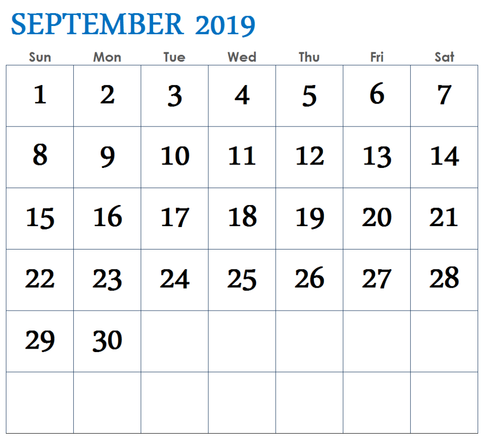 September 2019 Calendar Blank Templates