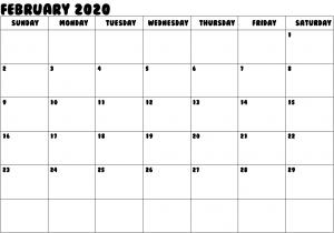 Blank February 2020 Calendar Template