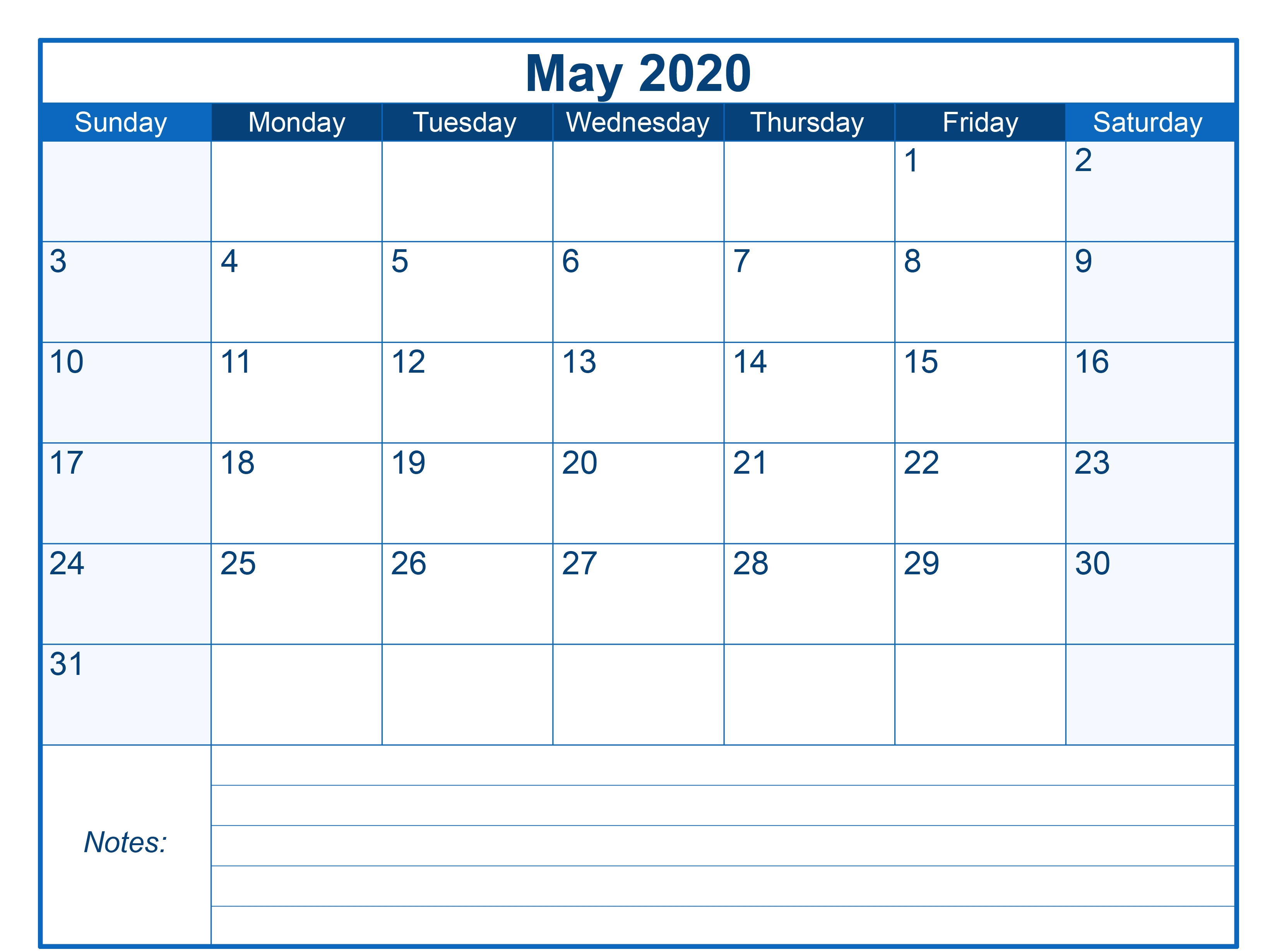 Blank Printable May 2020 Calendar