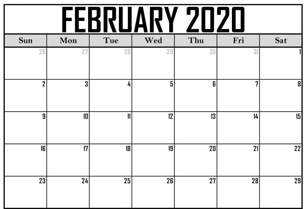 Calendar For February 2020
