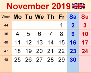 Calendar November 2019 UK