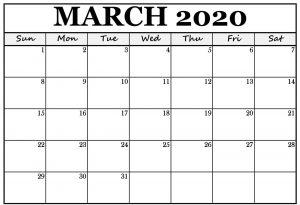 Editable March 2020 Blank Template