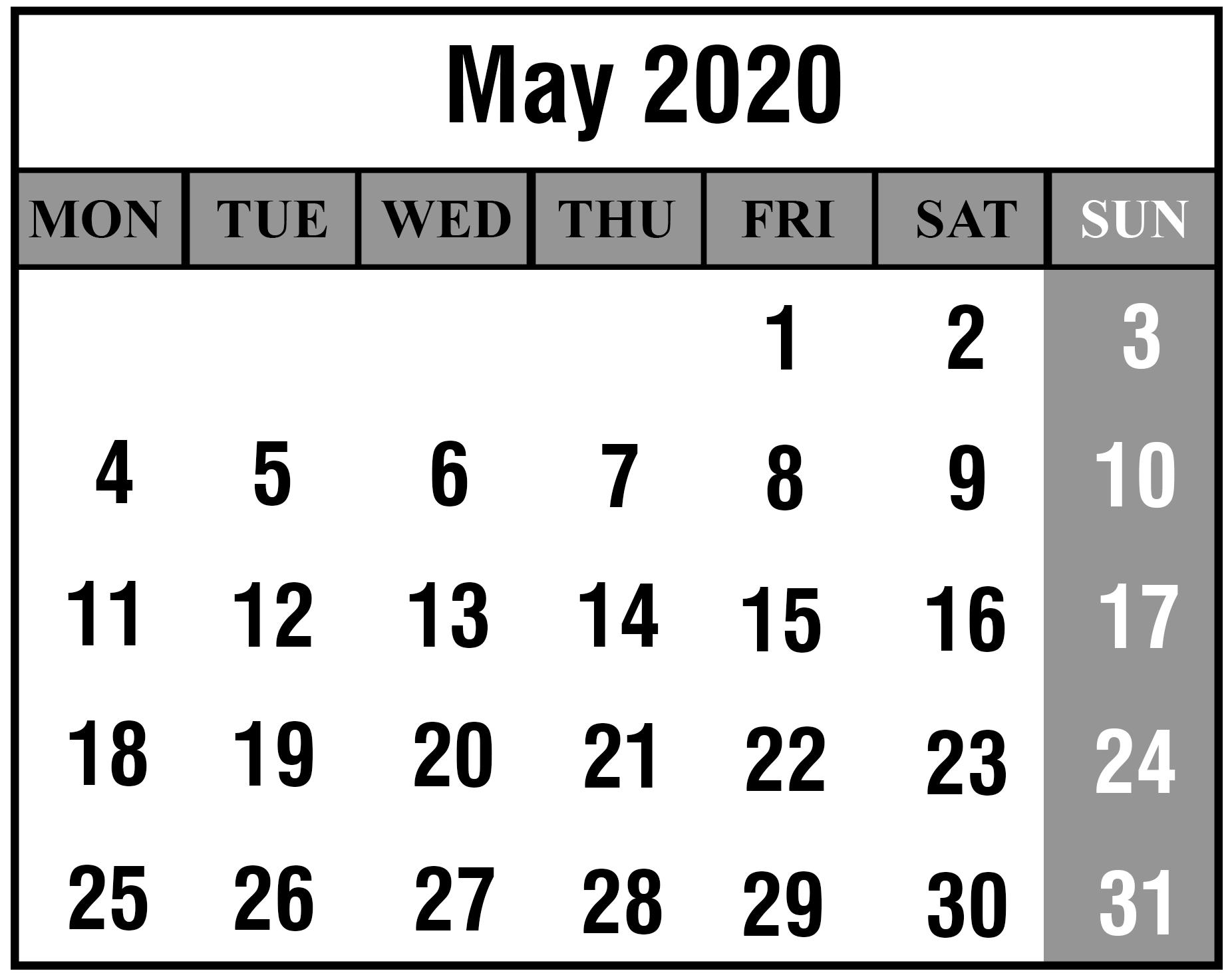 Editable May 2020 Calendar Blank
