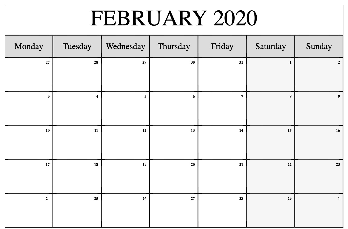 February 2020 Calendar Printable Template