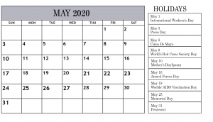 Holidays Calendar For May 2020