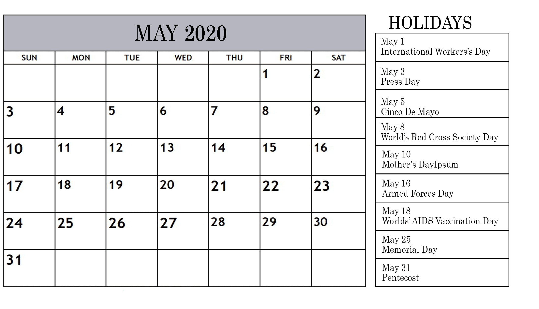 Holidays Calendar For May 2020