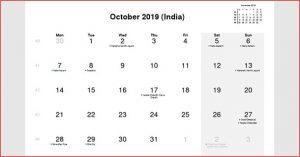 India Holidays Calendar October 2019