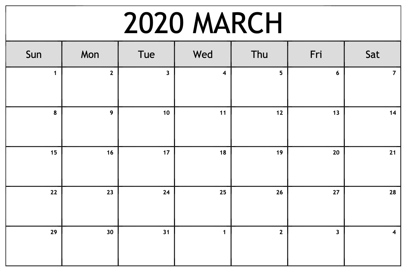 March 2020 Calendar Page