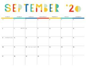 Monthly 2020 Calendar September