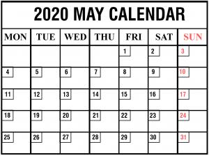 Monthly Blank May 2020 Calendar Printable
