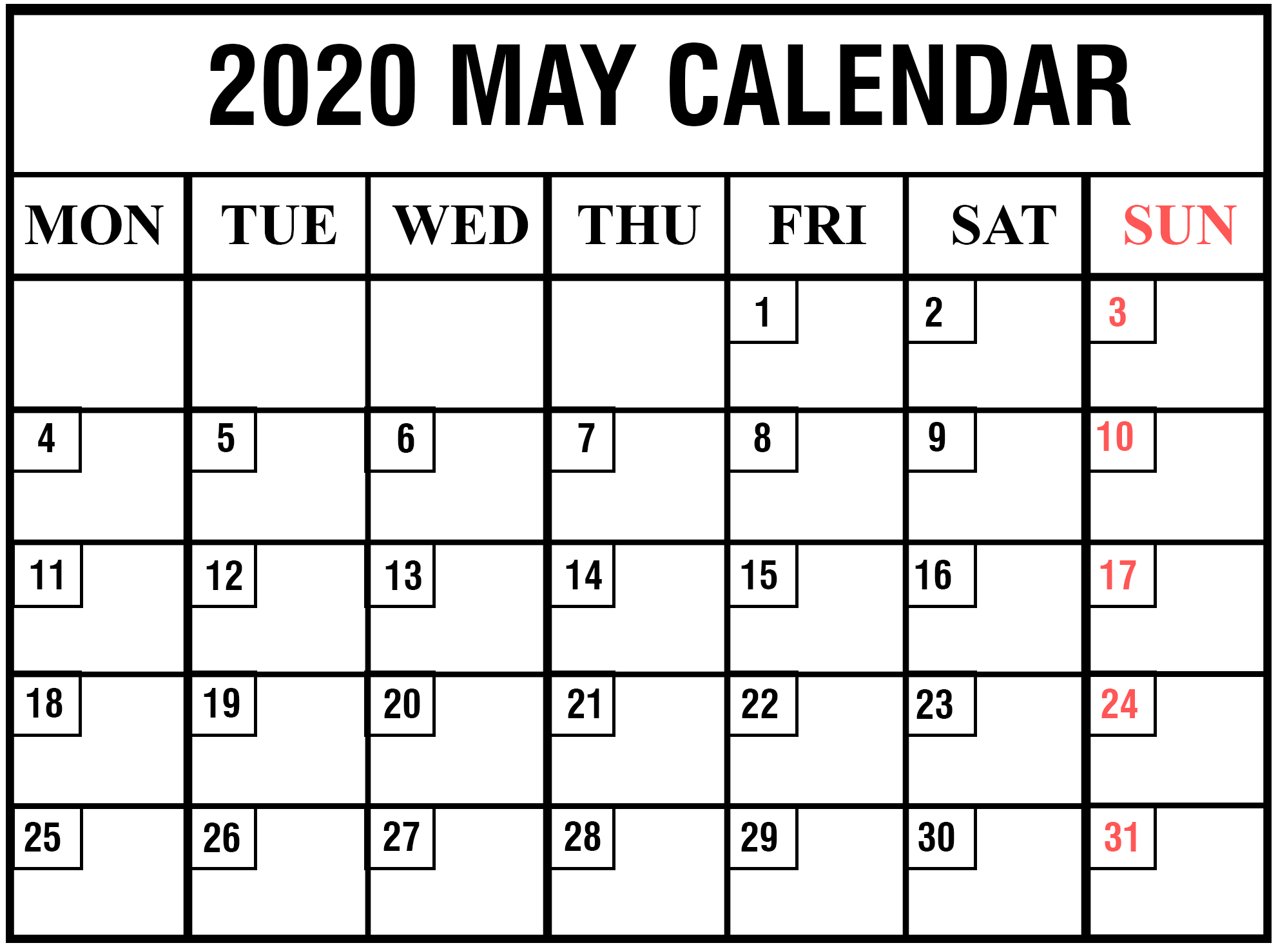 Monthly Blank May 2020 Calendar Printable