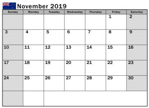 November 2019 Calendar NZ Holidays with National Holidays