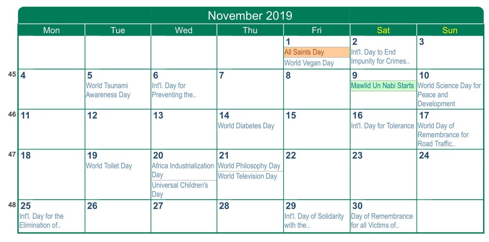 November 2019 Calendar With Holidays South Africa