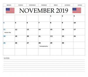 November 2019 USA Federal Holidays Calendar