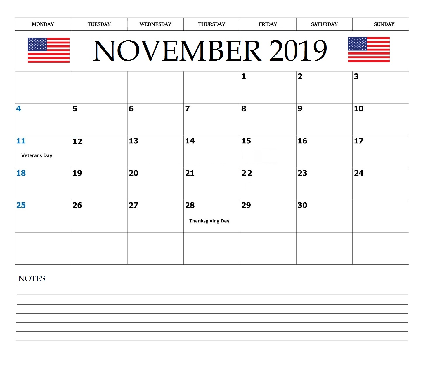 November 2019 USA Federal Holidays Calendar