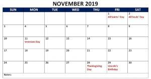 November Holidays 2019 Calendar