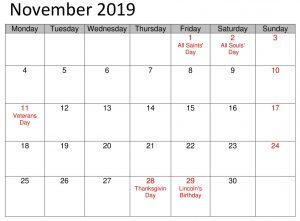 November School 2019 Calendar With Holidays