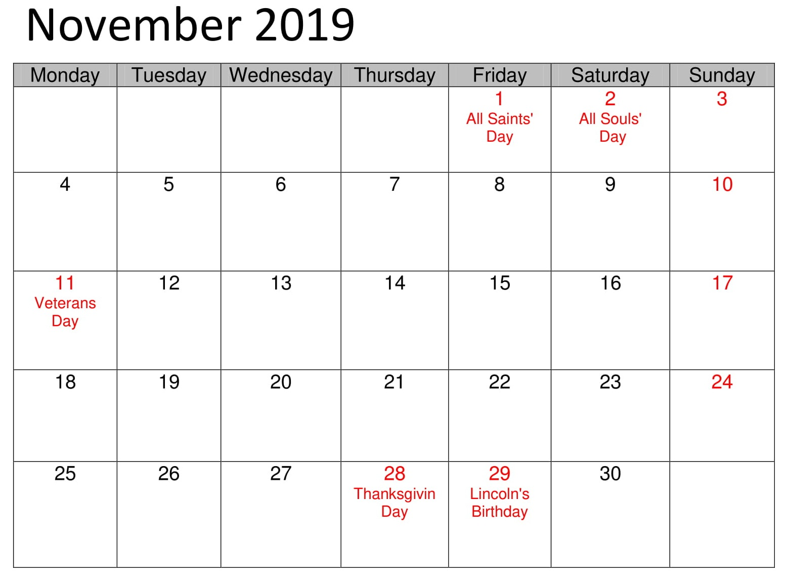 November School 2019 Calendar With Holidays