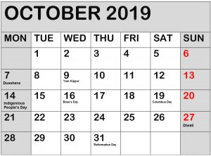 October 2019 Calendar With Public Holidays