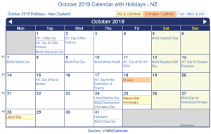 October 2019 Calendar with Holidays NZ