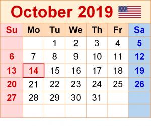 October 2019 Calendar with USA Holidays