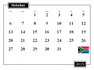 October 2019 South Africa Holidays Calendar