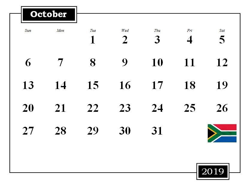 October 2019 South Africa Holidays Calendar