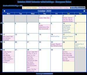 October 2020 Calendar Holidays European Union